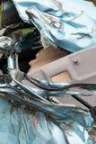 Close-up, light blue car was demolished. Stock Images