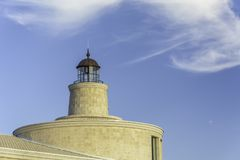 Close up of Light house against blue sky. Place for text Royalty Free Stock Photography