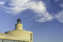 Close up of Light house against blue sky. Place for text Stock Images
