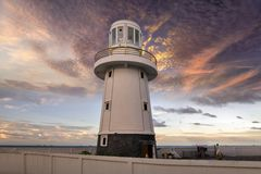 Lighthouse in Thailand. Close up lighthouse in Thailand . Tsunami siren warning loudspeakers are installed on the  shores in Thailand Stock Photo