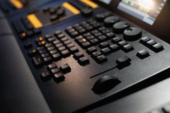 Lighting control console. Close up of lighting control console. Selective focus Royalty Free Stock Photos