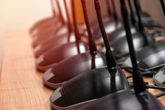 Close up Line array microphone Conference.  stock images