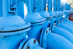Close up of line from blue oxygen gate valves Stock Photography