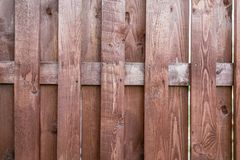 Close up of line light brown wooden fence.striped wooden fence background.vertical wooden fence wall. Royalty Free Stock Photos