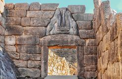 Close up of Lion gate in ancient Greek ruins at Mycenae which is mentioned in the Iliad - missing heads were thought to be gold royalty free stock photo