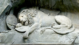 Close up lion monument in Lucerne Royalty Free Stock Photos