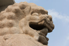 Close up of Lion, Symbol of Power. The stone lion guarding the passage from Qianmen Street to the Arrow Tower Royalty Free Stock Photo