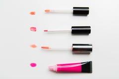 Close up of lip gloss tubes Royalty Free Stock Image