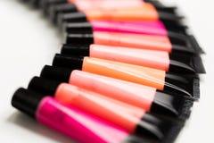Close up of lip gloss tubes Royalty Free Stock Photos