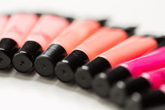 Close up of lip gloss tubes Stock Photography