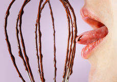 Close-up lips chocolate Royalty Free Stock Photos