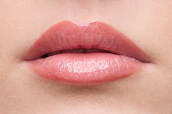Close-up lips make-up zone. Close-up face of beauty young woman - lips make-up zone Royalty Free Stock Photography