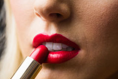 Close up of lips with makeup on them Royalty Free Stock Photography