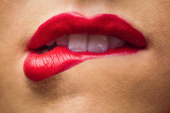 Close up of lips with makeup on them Royalty Free Stock Image