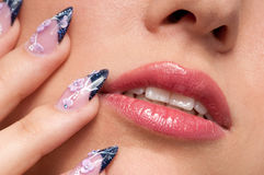 Close-up lips makeup zone and nail art. Close-up face of beauty young woman - lips makeup zone and nail art Stock Photography