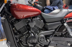 Close up of liquid cooled V-twin engine of motorcycle Royalty Free Stock Photos