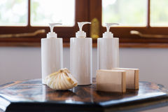 Close up of liquid soap or body lotion at bathroom Royalty Free Stock Images