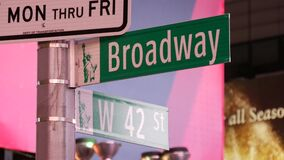 Close Up: Famous Broadway Street Sign In Iconic Times Square