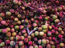Close-up of litchi. Close-up of full litchi for sale Royalty Free Stock Photography
