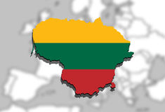 Close up on Lithuania map on Europe background Stock Image