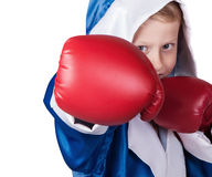 Close up little boy portrait in boxing gloves Stock Photography