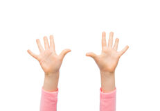 Close up of little child hands raised upwards Royalty Free Stock Photos