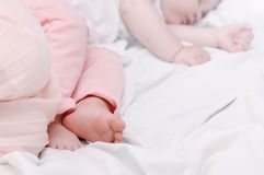Close up little foots of sleeping cute baby Stock Photo