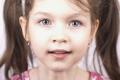 Close up of little funny girl. Portrait of little beautiful girl, close up stock images