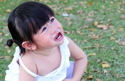 Close-up little girl crying in park.  Stock Photography
