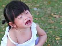 Close-up little girl crying in park.  Stock Image