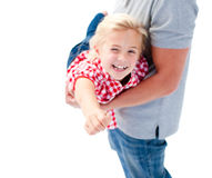 Close-up of little girl enjoying piggyback ride Royalty Free Stock Photography