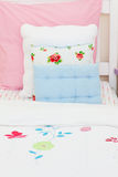 Close-up of a little girl's bed Royalty Free Stock Images