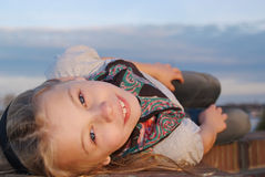 Close-up of little girl in the sunlight Stock Images