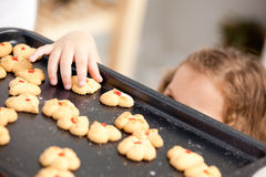 Close up of a little girl taking a cookie Royalty Free Stock Photo
