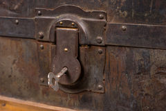 Close Up of Lock and Key of Antique Wooden Trunk Royalty Free Stock Photos