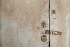 Close up of a lock and keyhole on the old wooden Royalty Free Stock Images