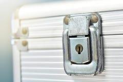 Close-up lock of metal case Royalty Free Stock Photos