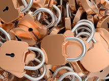 Close-up of locked brass padlocks Stock Images