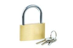 Close-up of a locked padlock and keys Royalty Free Stock Photos