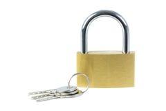 Close-up of a locked padlock and keys Royalty Free Stock Images