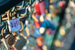 Close up of locks of love Royalty Free Stock Images