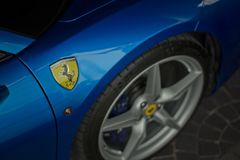 Ferrari 488 spider blue close up Stock Image