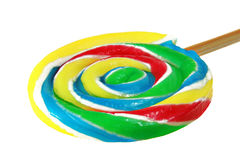 Close up of lollipop candy (swirl pop). On white background Royalty Free Stock Photos
