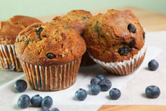 Close up look at blueberry muffins Stock Photos