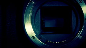 Close up look of the camera lens stock footage