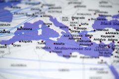 Close up look at flight map details highlight barcelona. And cities nearby stock images