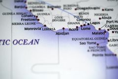 Close up look at flight map details highlight douala. And cities nearby royalty free stock photography