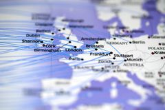 Close up look at flight map details highlight london and frankfurt. Close up look at a flight map highlight london and frankfurt and some cities nearby royalty free stock photo