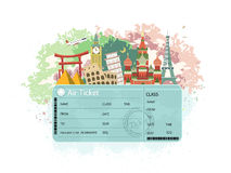 Close-up look at flight ticket Royalty Free Stock Photo