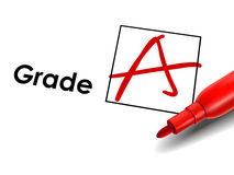 Close up look at grade A on exam paper Royalty Free Stock Photos